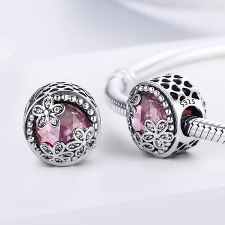 Charm argint 925 roz cu floricele si zirconii albe - Be Nature PST00851