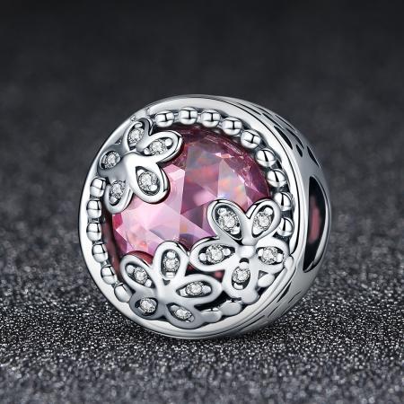 Charm argint 925 roz cu floricele si zirconii albe - Be Nature PST00852