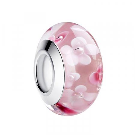 Charm fantezie roz cu floare PSTF0003