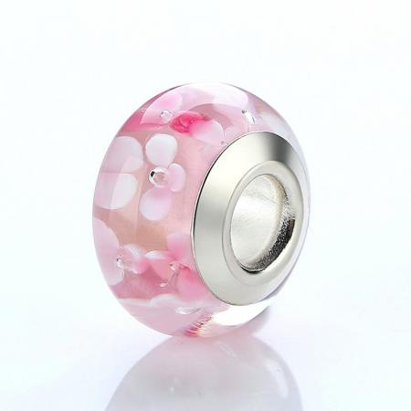 Charm fantezie roz cu floare PSTF0003 [2]