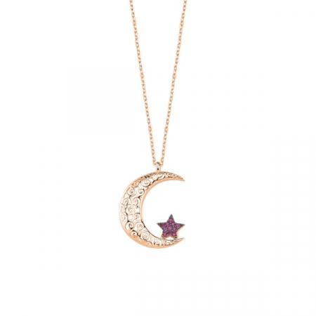 Colier Ajour din argint 925 cu luna si luceafarul placat cu aur roz