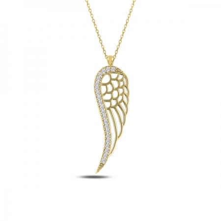 Colier argint 925 aurit cu aripa de inger si zirconii albe - Be Protected CTU0068