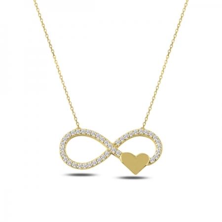 Colier argint 925 aurit cu infinit, inimioara si zirconii albe - Infinite You CTU0065