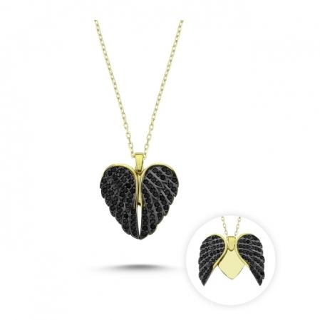 Colier argint 925 aurit cu inimioara, aripi de inger si zirconii - Be Protected CTU0088