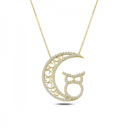 Colier argint 925 aurit cu semiluna, bufnita si zirconii - Be Wise CTU0081