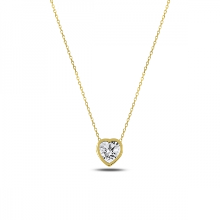 Colier argint 925 aurit inimioara cu zirconiu alb - Be in Love CTU0061
