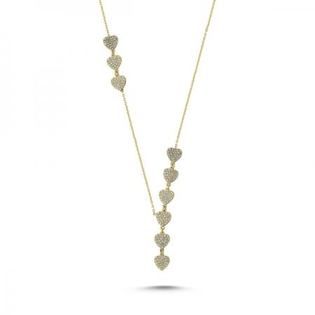 Colier argint 925 aurit inimioare cu zirconii albe - Be in Love CTU0070