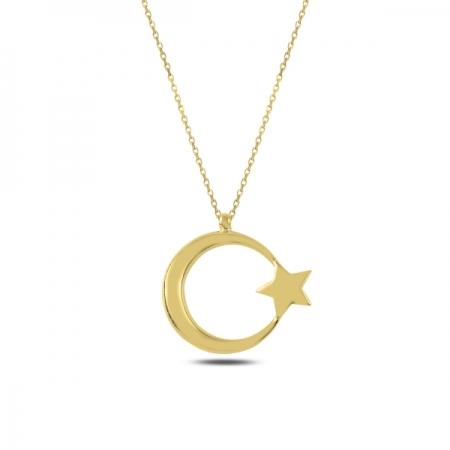 Colier argint 925 aurit semiluna cu stea - Be Nature CTU0075
