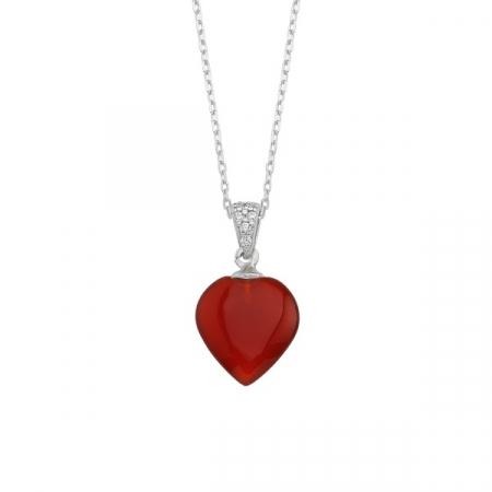 Colier argint 925 cu inimă de agat roșu placat cu rodiu