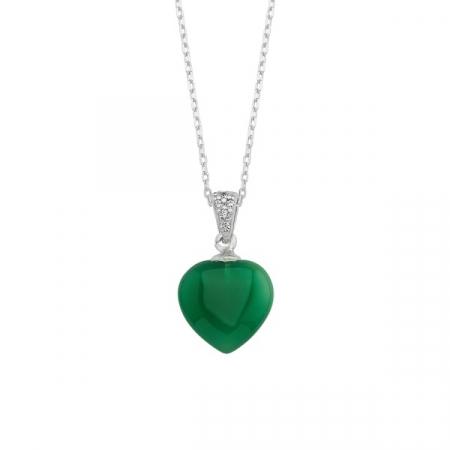 Colier argint 925 cu inimă de agat verde placat cu rodiu