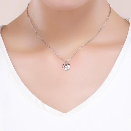 Colier argint 925 cu inimioara si pisicuta - Be Nature CST00155