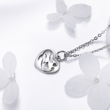 Colier argint 925 cu inimioara si pisicuta - Be Nature CST00151