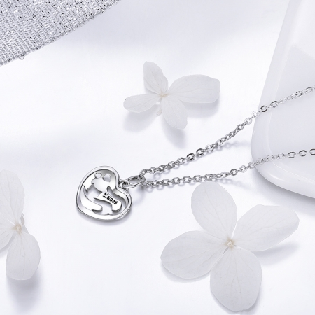 Colier argint 925 cu inimioara si pisicuta - Be Nature CST00152