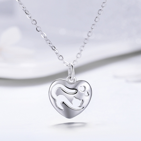 Colier argint 925 cu inimioara si pisicuta - Be Nature CST00153