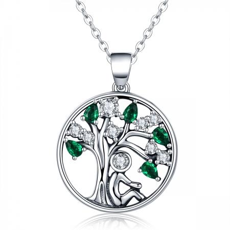 Colier argint 925 cu om, copacul vietii, si zirconii albe si verzi - Be Nature  CST0003