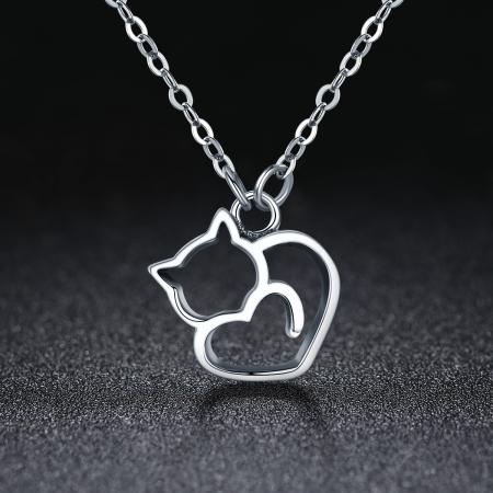 Colier argint 925 cu pisicute si inimioara - Be Nature CST00081