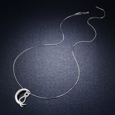 Colier argint 925 cu semiluna, pisicuta si zirconii - Be Nature CST00046