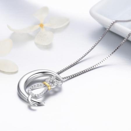Colier argint 925 cu semiluna, pisicuta si zirconii - Be Nature CST00042