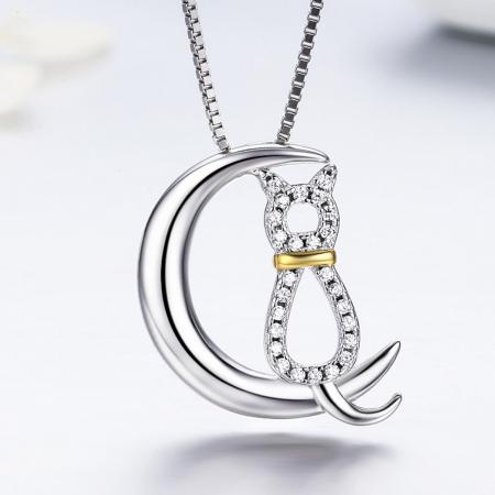 Colier argint 925 cu semiluna, pisicuta si zirconii - Be Nature CST00043
