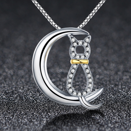 Colier argint 925 cu semiluna, pisicuta si zirconii - Be Nature CST00041