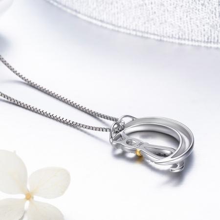Colier argint 925 cu semiluna, pisicuta si zirconii - Be Nature CST00044