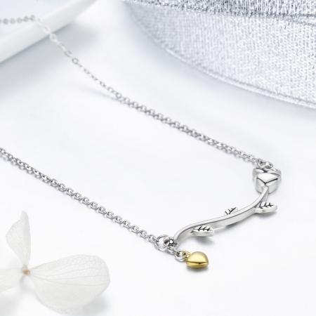 Colier argint 925 cu trandafir si inimioara aurie - Be Nature CST00065