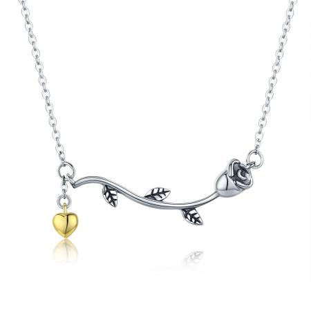 Colier argint 925 cu trandafir si inimioara aurie - Be Nature CST00060