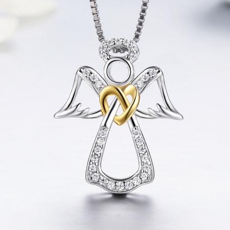 Colier argint 925 ingeras cu inimioara aurie - Be Spiritual CST0005 [3]