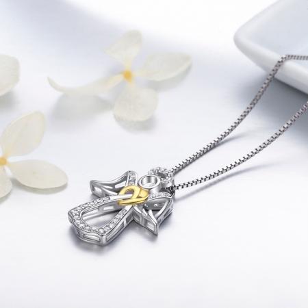 Colier argint 925 ingeras cu inimioara aurie - Be Spiritual CST0005 [2]