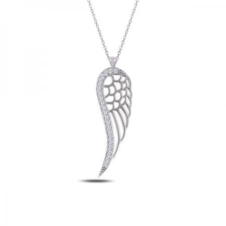 Colier argint 925 rodiat cu aripa si zirconii albe - Be Protected CTU0069