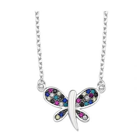 Colier argint 925 rodiat cu fluturas multicolor - Be Nature CTU0050