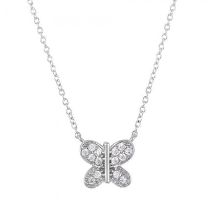 Colier argint 925 rodiat cu fluturas si zirconii CSX01781