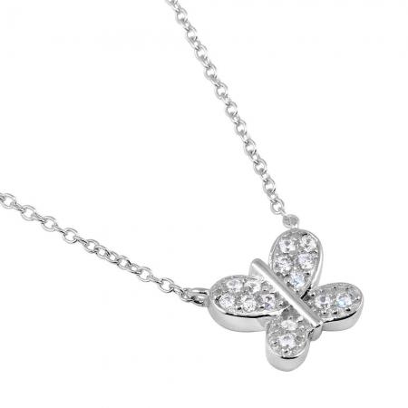Colier argint 925 rodiat cu fluturas si zirconii CSX0178