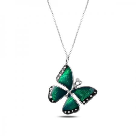 Colier argint 925 rodiat cu fluturas verde - Be Nature CTU0085