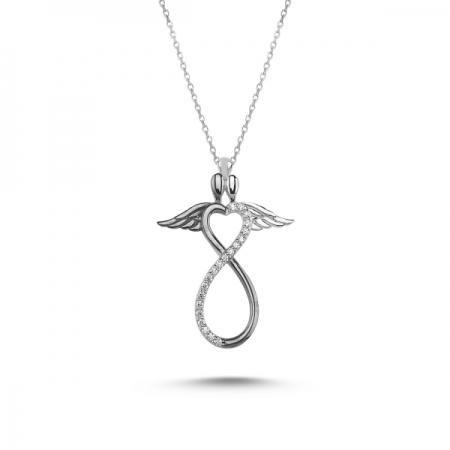 Colier argint 925 rodiat cu infinit, inimioara si aripi de inger - Be Protected CTU0076