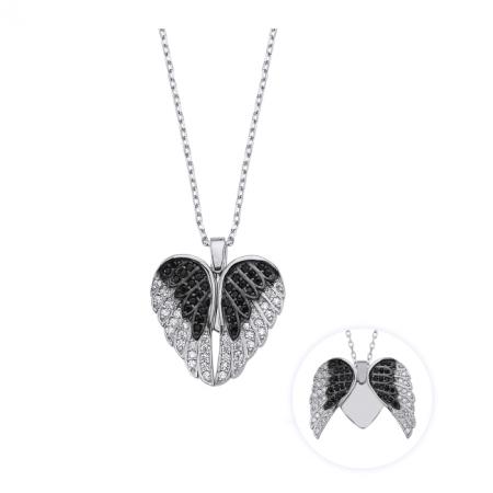 Colier argint 925 rodiat cu inimioara, aripi de inger si zirconii - Be Protected CTU0089