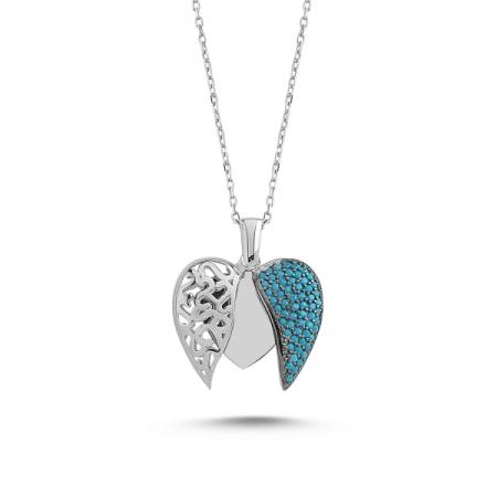 Colier argint 925 rodiat cu inimioara, aripi de inger si zirconii turcoaz - Be Protected CTU0087
