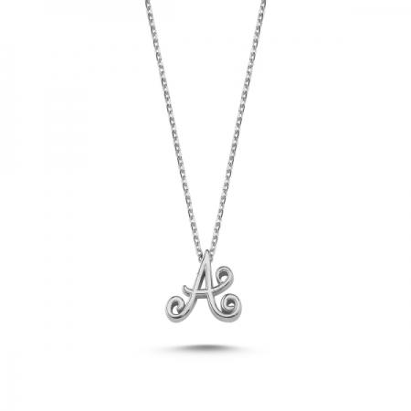 Colier argint 925 rodiat cu litera A de mana CTU0059