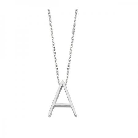 Colier argint 925 rodiat cu litera A de tipar CTU0090