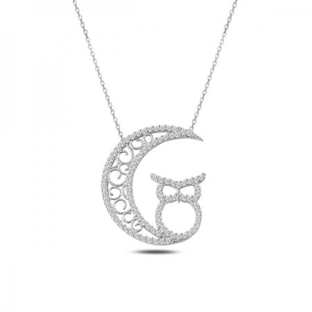 Colier argint 925 rodiat cu semiluna, bufnita si zirconii - Be Wise CTU0082