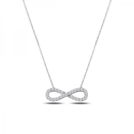 Colier argint 925 rodiat cu simbolul infinit si zirconii albe - Infinite You CTU0063
