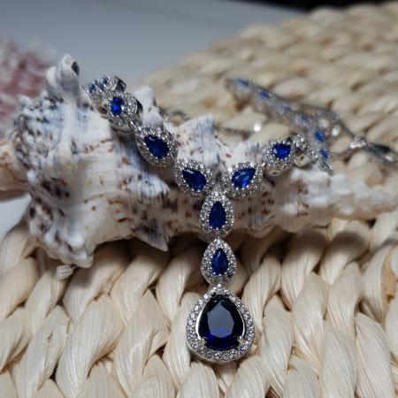 Colier argint 925 rodiat cu zirconii albe si albastre - Be Elegant CSTU0031