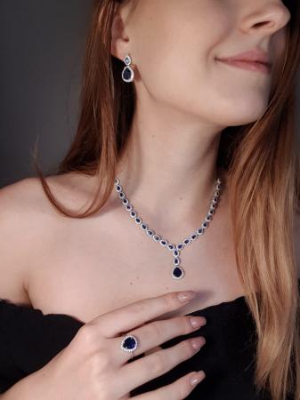 Colier argint 925 rodiat cu zirconii albe si albastre - Be Elegant CSTU00311