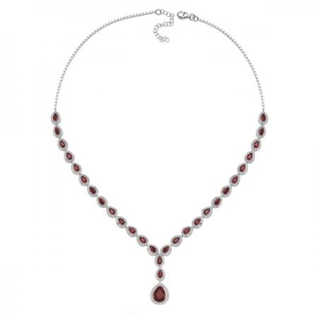 Colier argint 925 rodiat cu zirconii albe si rosii - Be Elegant CSTU0032