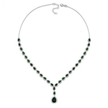 Colier argint 925 rodiat cu zirconii albe si verzi - Be Elegant CSTU0030