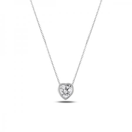 Colier argint 925 rodiat inimioara cu zirconiu alb - Be in Love CTU0062