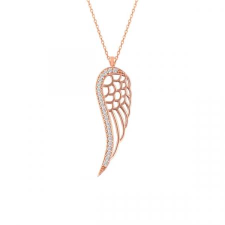 Colier argint aripa de inger cu zirconii placat cu aur roz