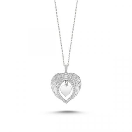 Colier argint aripi de inger si inimioara cu zirconii albe placat cu rodiu - CTU0097