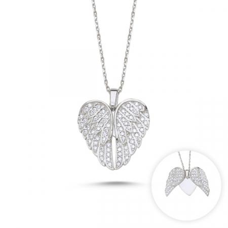 Colier argint aripi de inger si inimioara cu zirconii albe placat cu rodiu - CTU0109