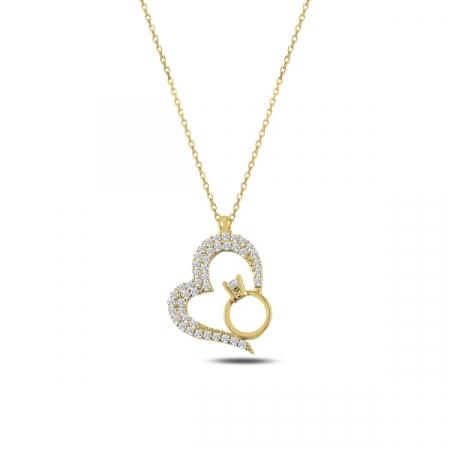 Colier argint aurit cu inima si inel cu zirconii albe placat cu aur galben - CTU0103